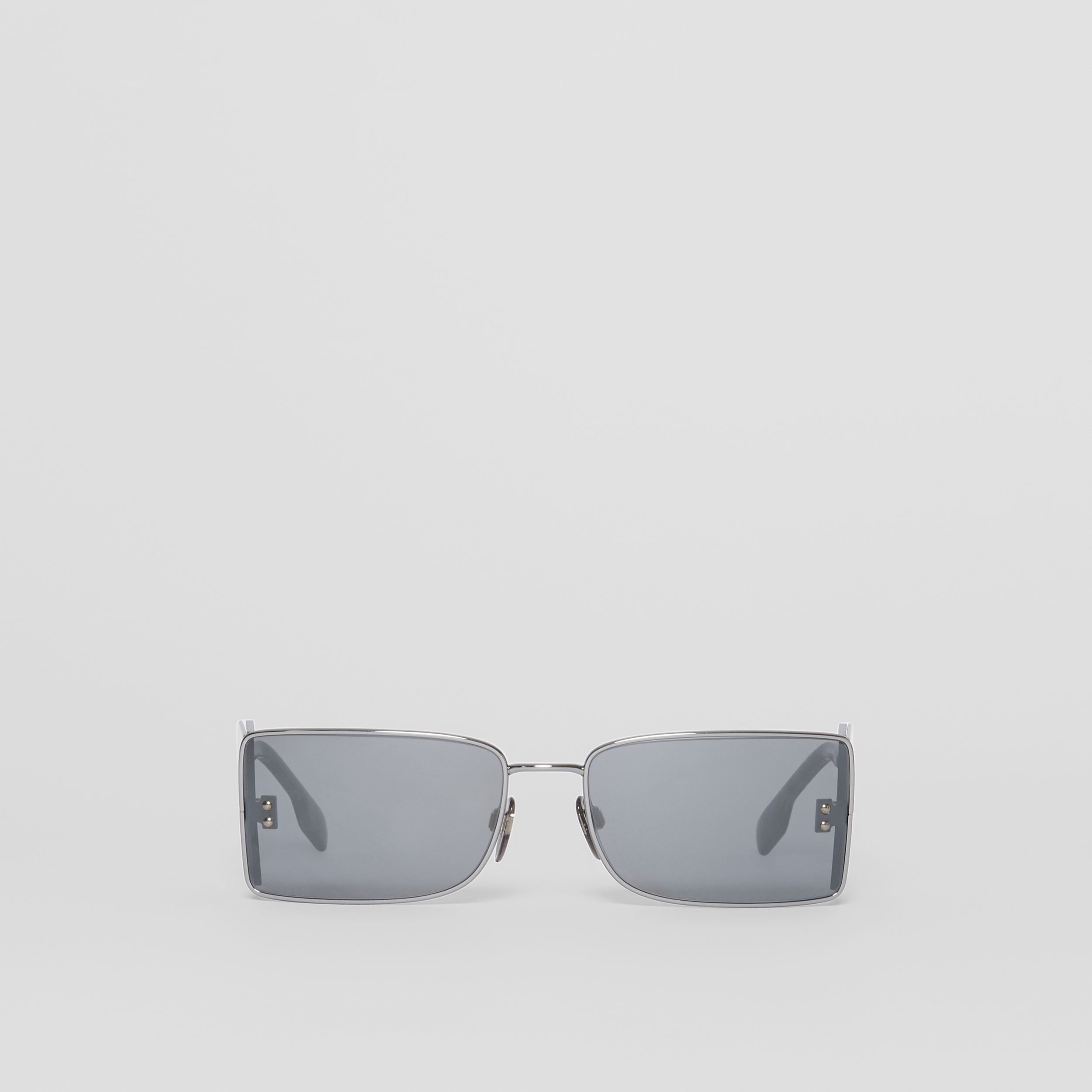 'B' Lens Detail Rectangular Frame Sunglasses in Gunmetal Grey | Burberry - 1