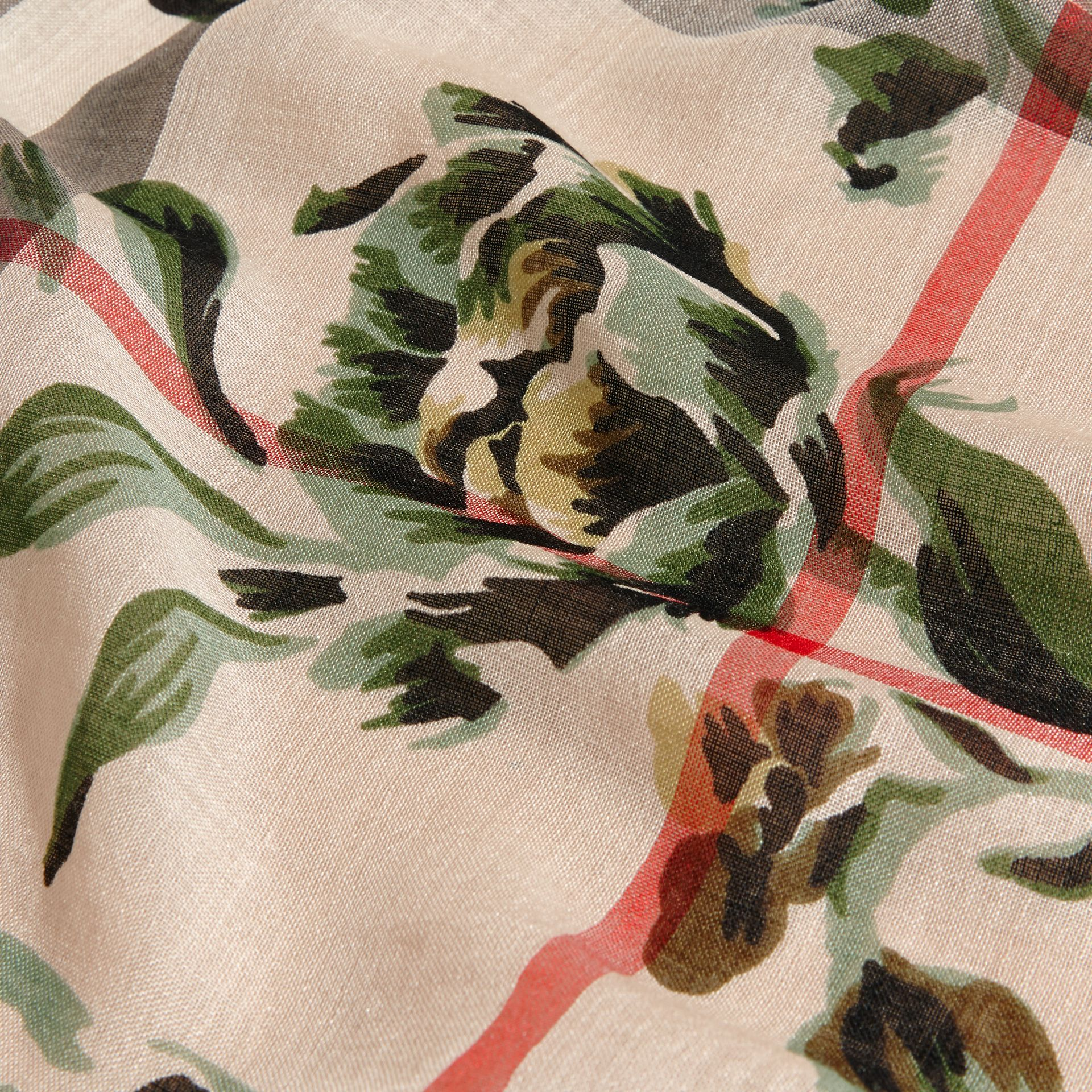 Peony Rose Print Check Wool Silk Scarf in Stone/apple Green - gallery image 2