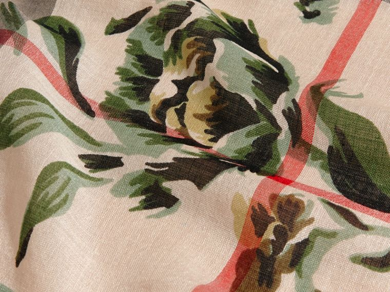 Peony Rose Print Check Wool Silk Scarf in Stone/apple Green - cell image 1