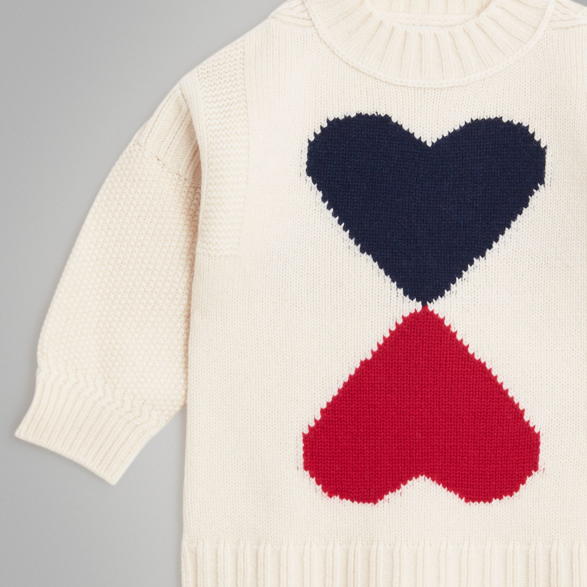 Double Heart Intarsia Wool Cashmere Sweater in Ivory | Burberry - gallery image 4