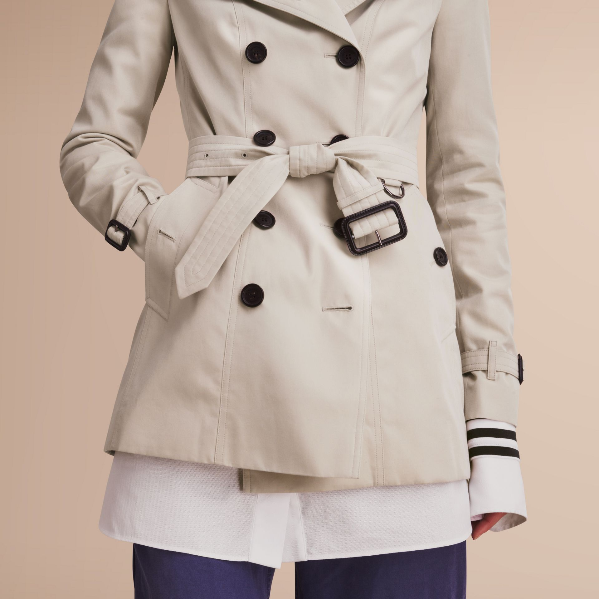 The Sandringham – Short Heritage Trench Coat in Stone - gallery image 6