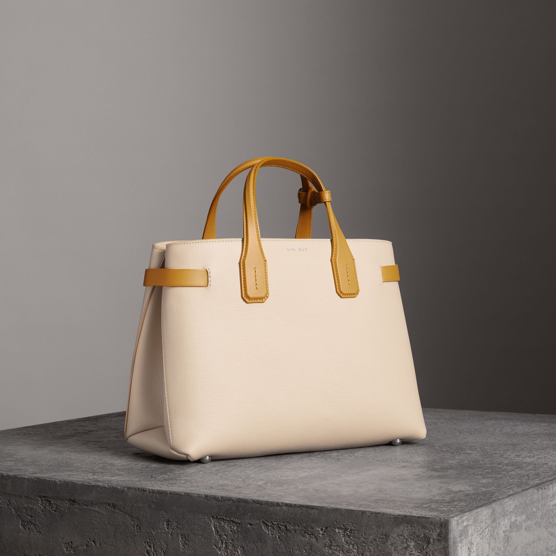 The Medium Banner in Two-tone Leather in Limestone/cornflower Yellow - Women | Burberry United Kingdom - gallery image 0