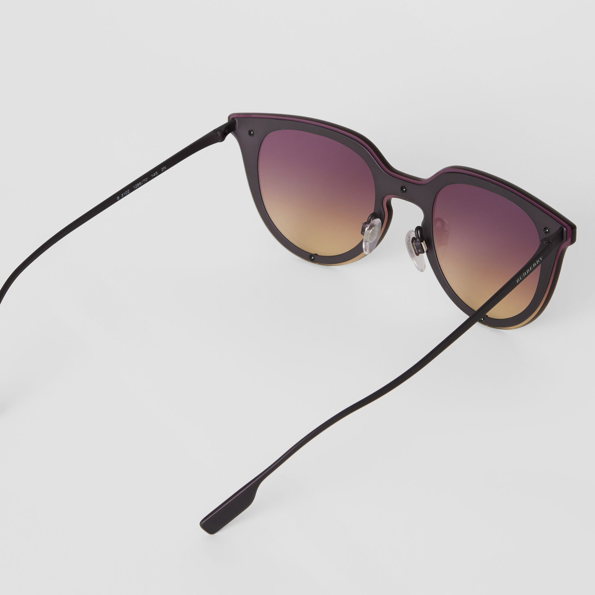 Keyhole Round Frame Shield Sunglasses in Purple - Women | Burberry United States - gallery image 4