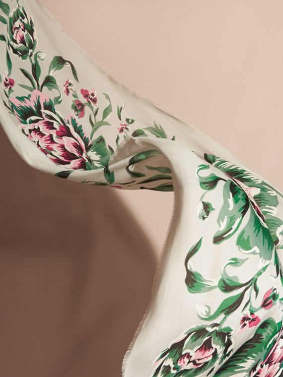 Peony Rose Print Modal and Cashmere Scarf in Emerald Green - cell image 3