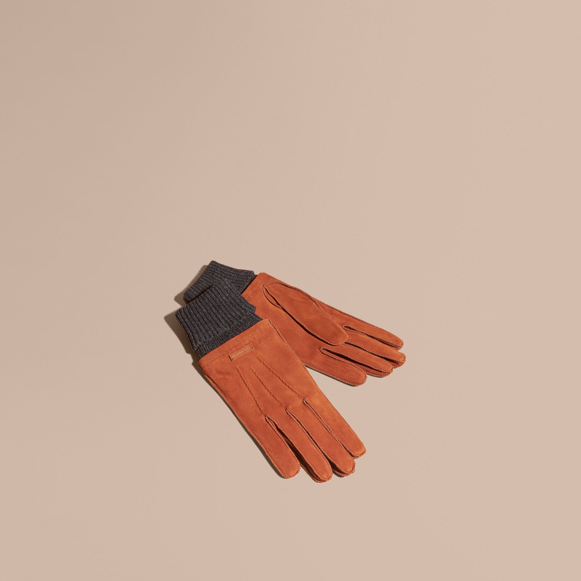 Wool Cashmere Ribbed Trim Suede Gloves in Chestnut Brown - gallery image 1