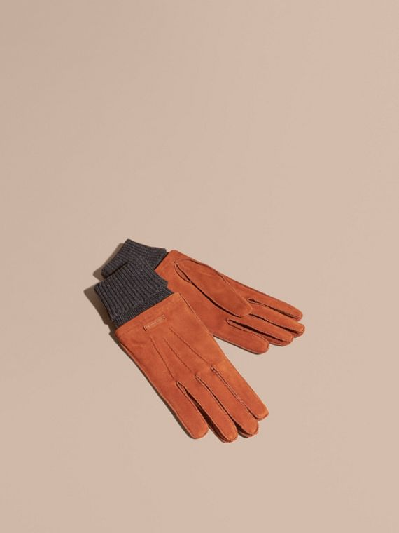 Wool Cashmere Ribbed Trim Suede Gloves Chestnut Brown