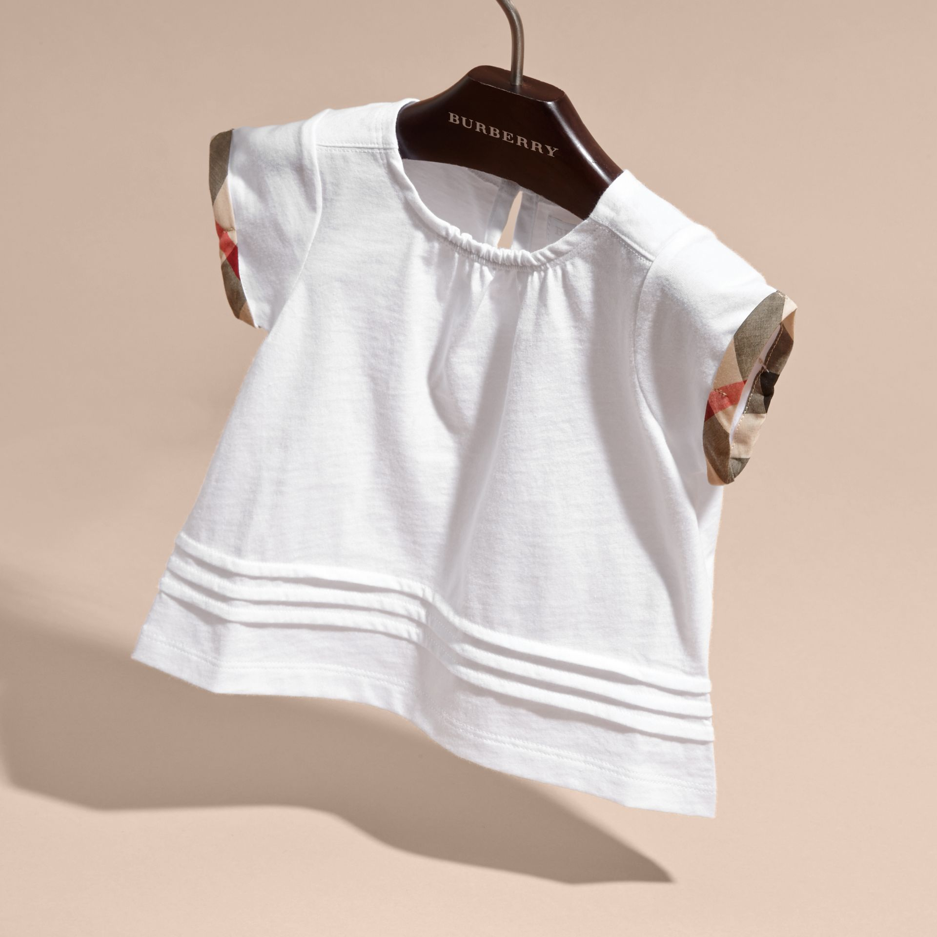 Pleat and Check Detail Cotton T-shirt in White | Burberry Australia - gallery image 3