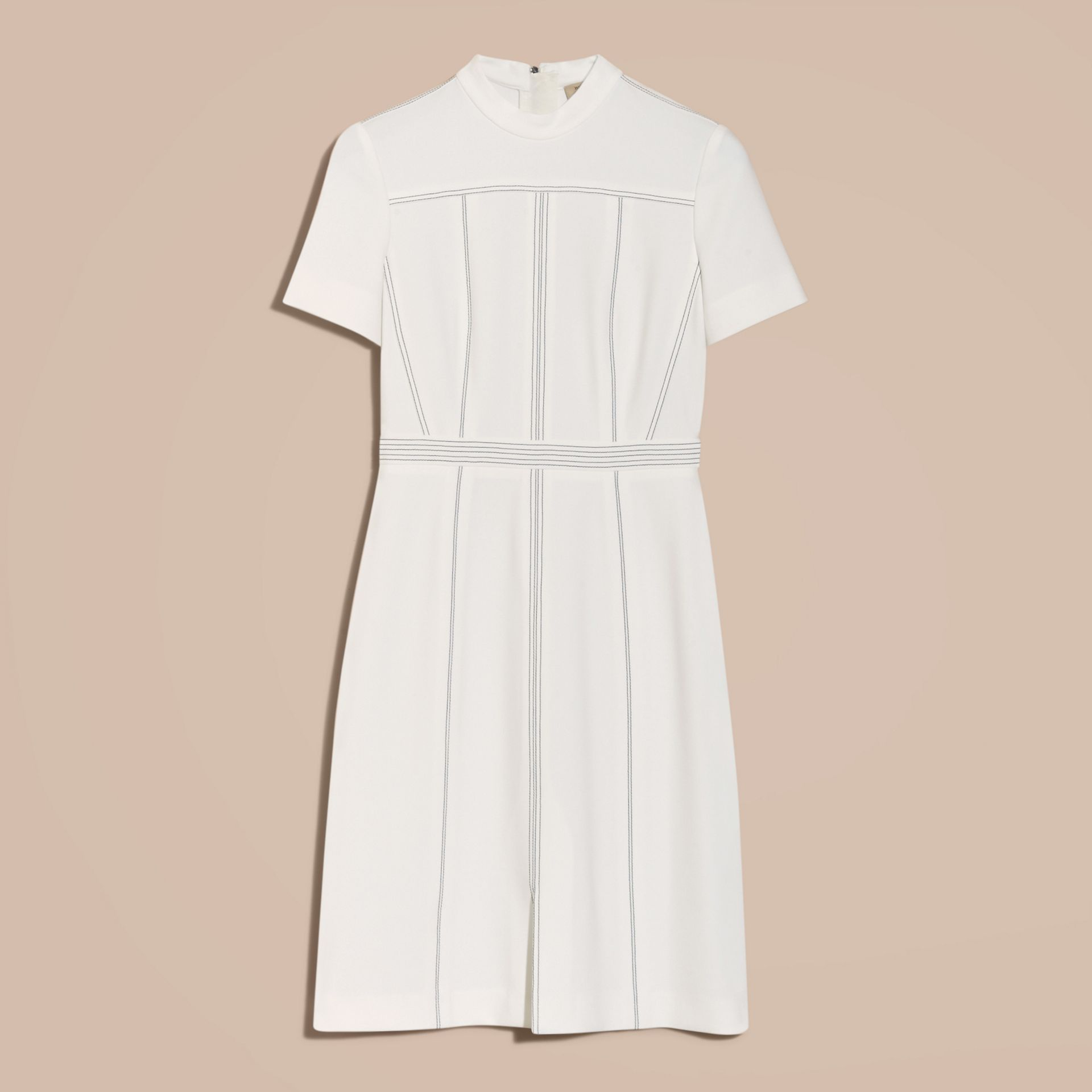Natural white Topstitch Detail Shift Dress - gallery image 4