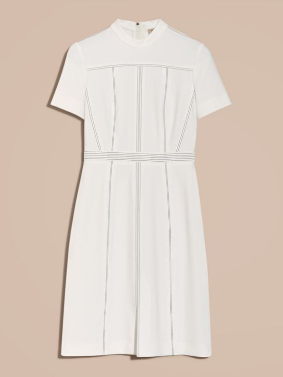 Natural white Topstitch Detail Shift Dress - cell image 3