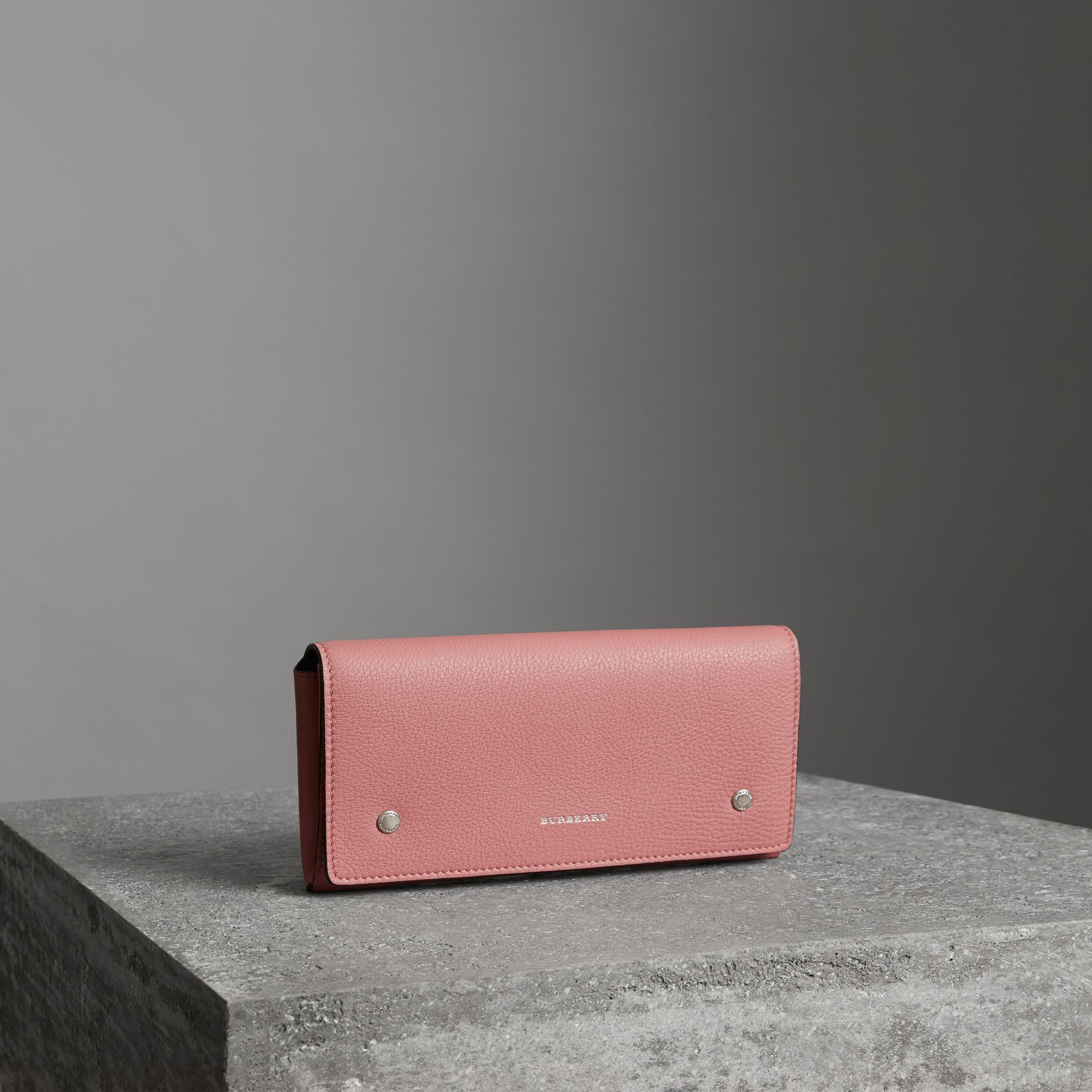 Two-tone Leather Continental Wallet in Dusty Rose - Women | Burberry - gallery image 0