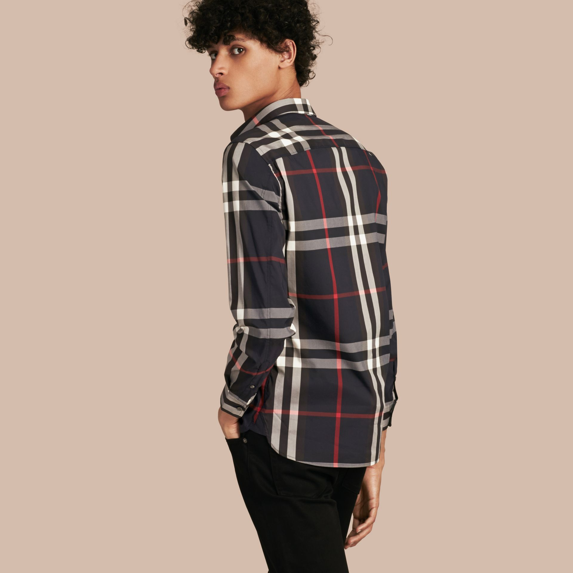 Navy Check Stretch Cotton Shirt Navy - gallery image 3
