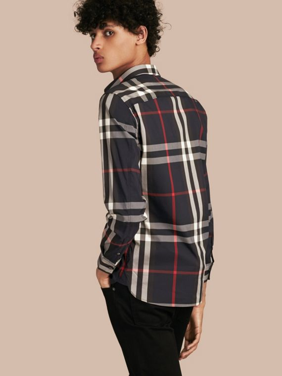 Check Stretch Cotton Shirt in Navy - Men | Burberry - cell image 2