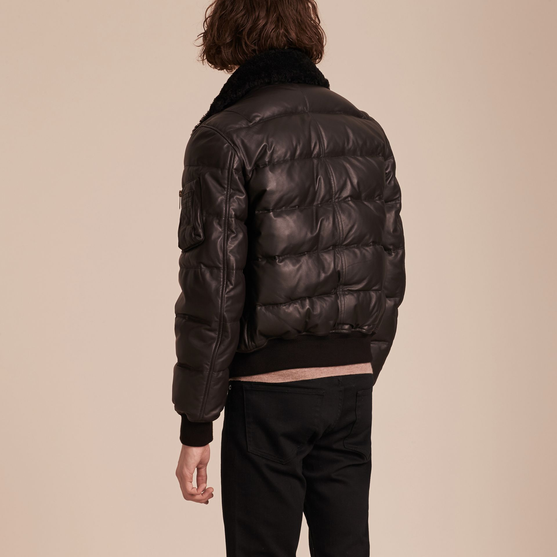 Chocolate brown Down-filled Lambskin Bomber Jacket with Shearling Collar - gallery image 3
