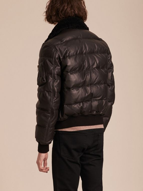 Chocolate brown Down-filled Lambskin Bomber Jacket with Shearling Collar - cell image 2