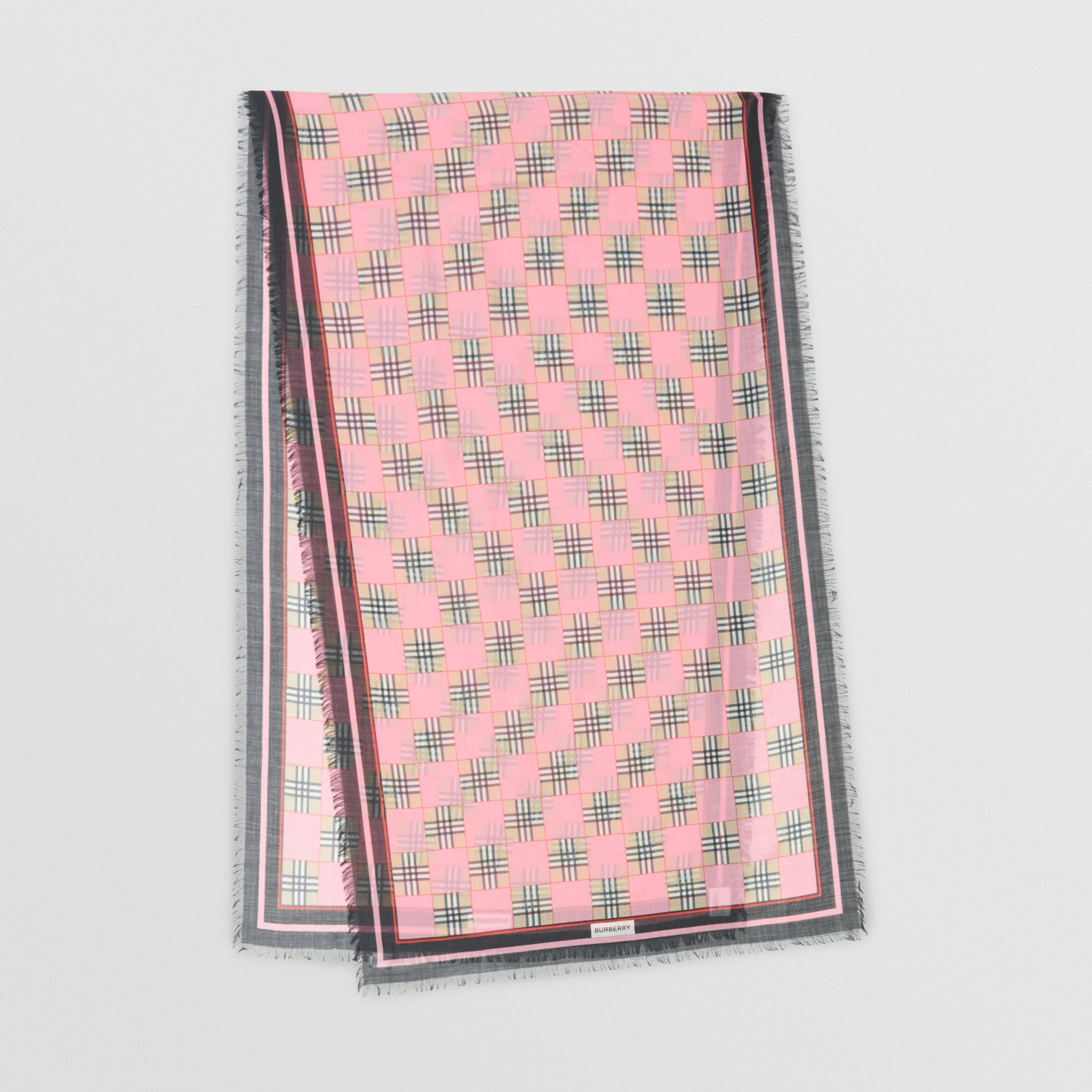 Chequer Print Wool Silk Scarf in Pink | Burberry - 1