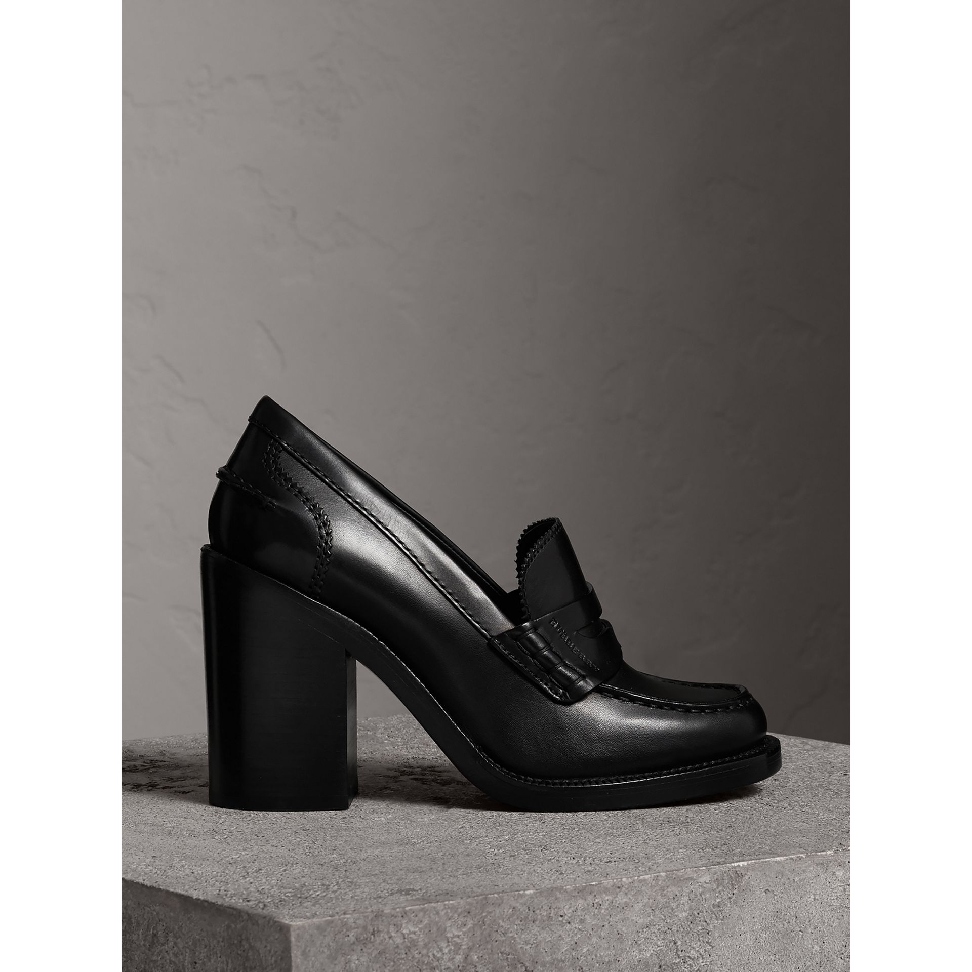 Leather Block-heel Penny Loafers in Black - Women | Burberry - gallery image 0