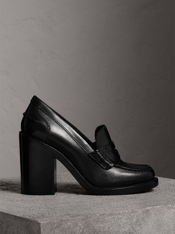 Leather Block-heel Penny Loafers in Black