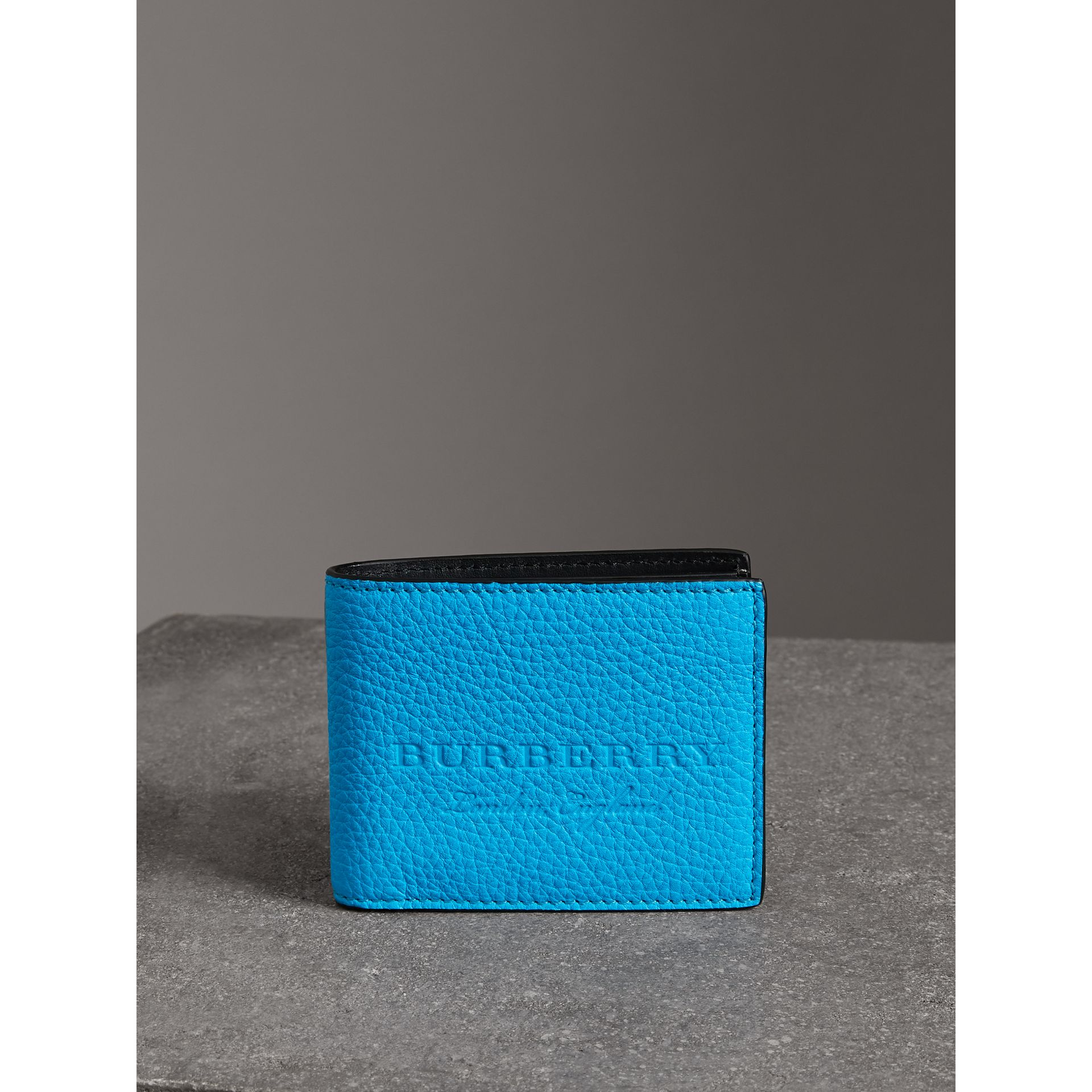 Embossed Leather Bifold Wallet in Neon Blue - Men | Burberry United States - gallery image 3
