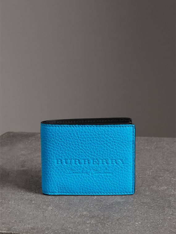 Embossed Leather Bifold Wallet in Neon Blue - Men | Burberry United States - cell image 3