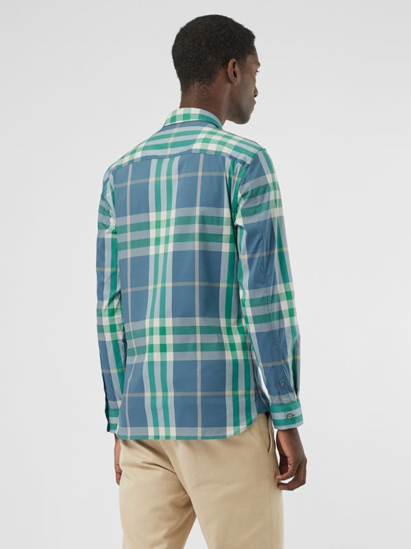 Check Stretch Cotton Shirt in Pewter Blue - Men | Burberry United States - cell image 2