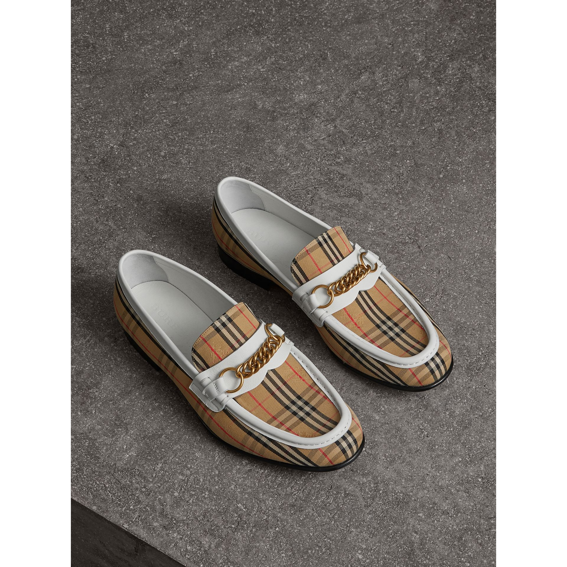 The 1983 Check Link Loafer in Off White | Burberry United Kingdom - gallery image 4