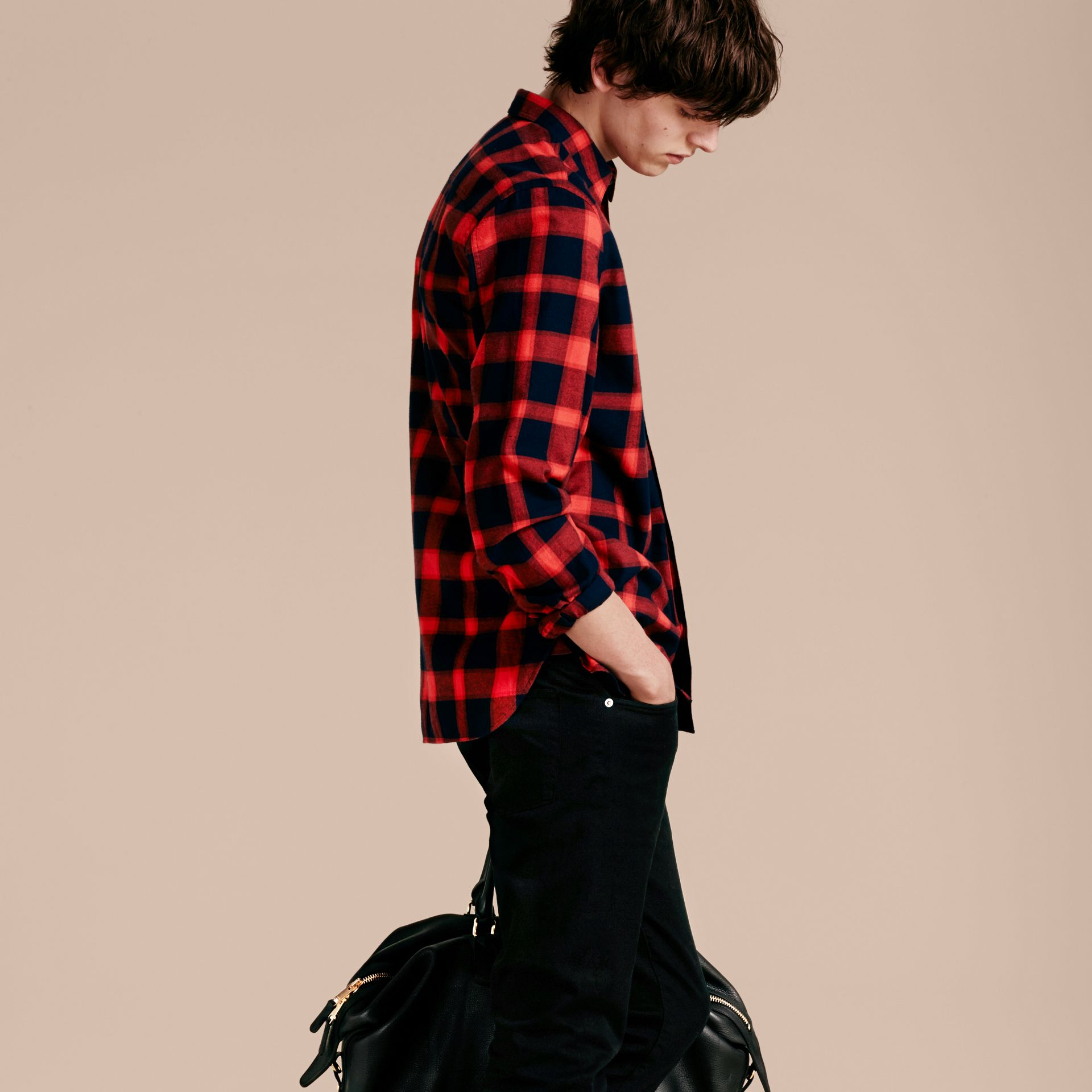 Parade red Buffalo Check Cotton Flannel Shirt Parade Red - gallery image 3