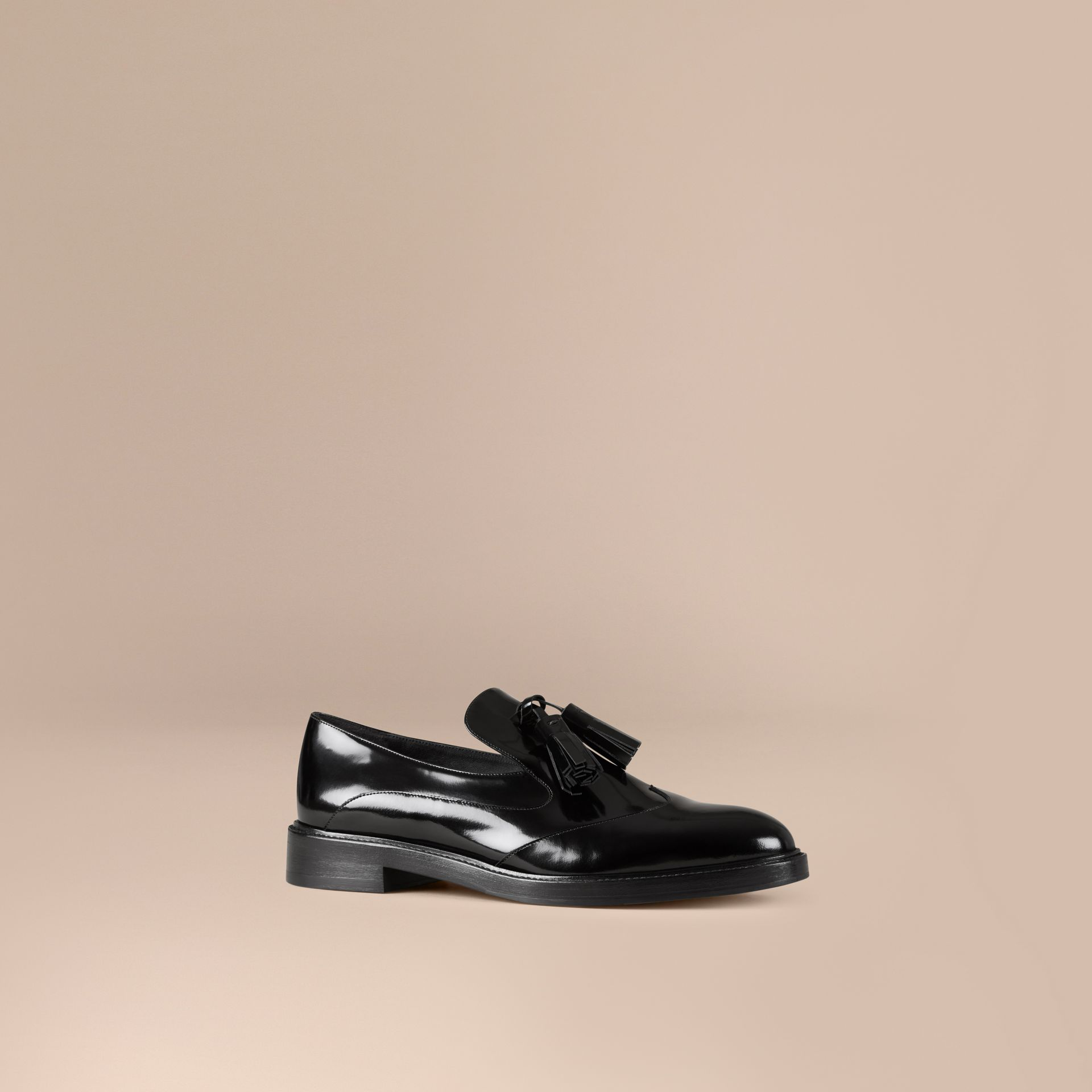 Black Tassel Detail Leather Loafers - gallery image 1