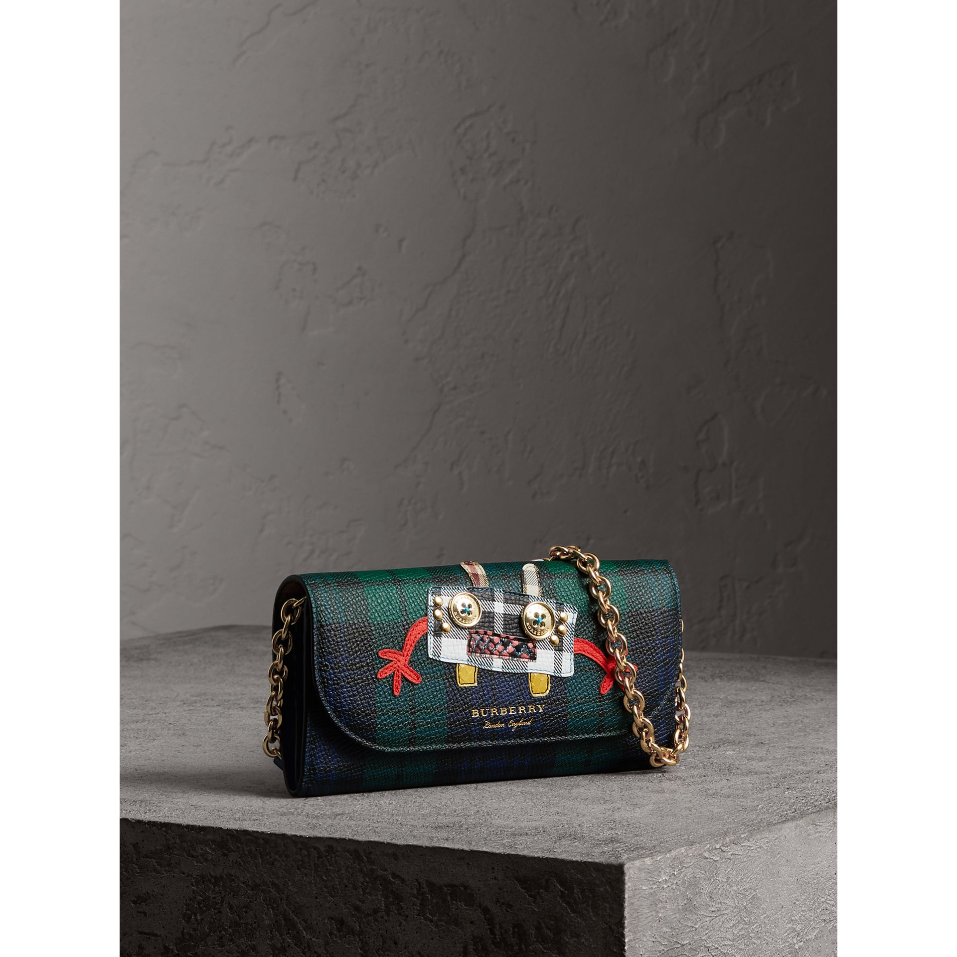Creature Appliqué Tartan Leather Wallet with Chain in Bright Navy - Women | Burberry - gallery image 0