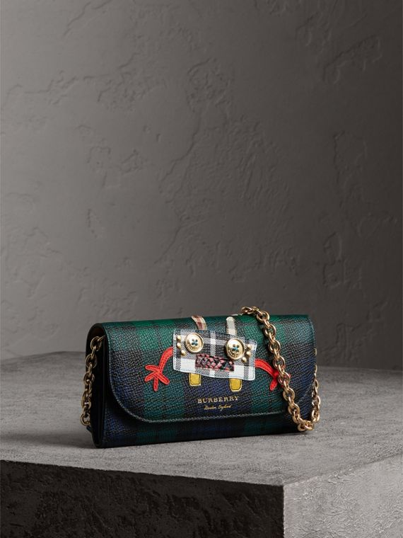 Creature Appliqué Tartan Leather Wallet with Chain in Bright Navy