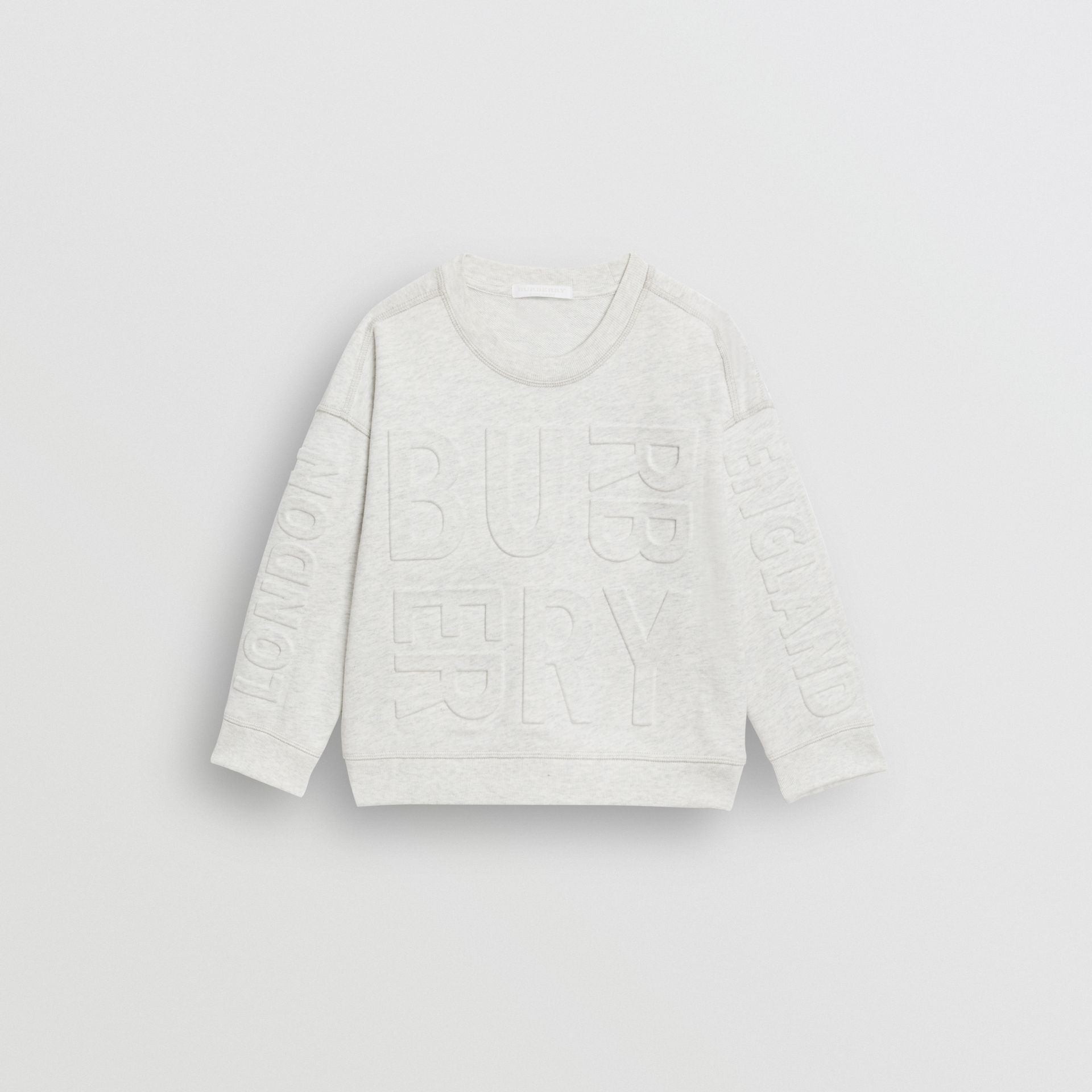 Embossed Logo Cotton Sweatshirt in White Melange | Burberry United Kingdom - gallery image 0