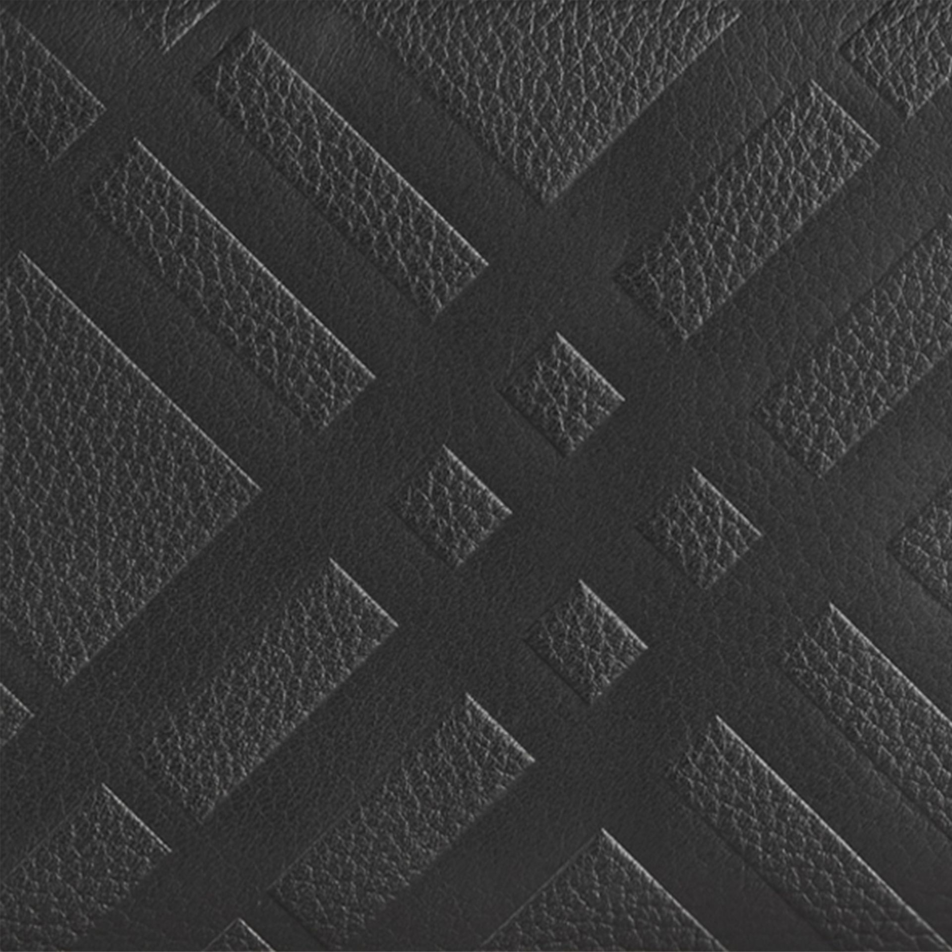 Black Embossed Check Leather Ziparound Wallet Black - gallery image 2
