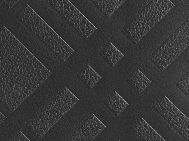 Noir Portefeuille à contour zippé en cuir à motif check estampé Noir - cell image 1