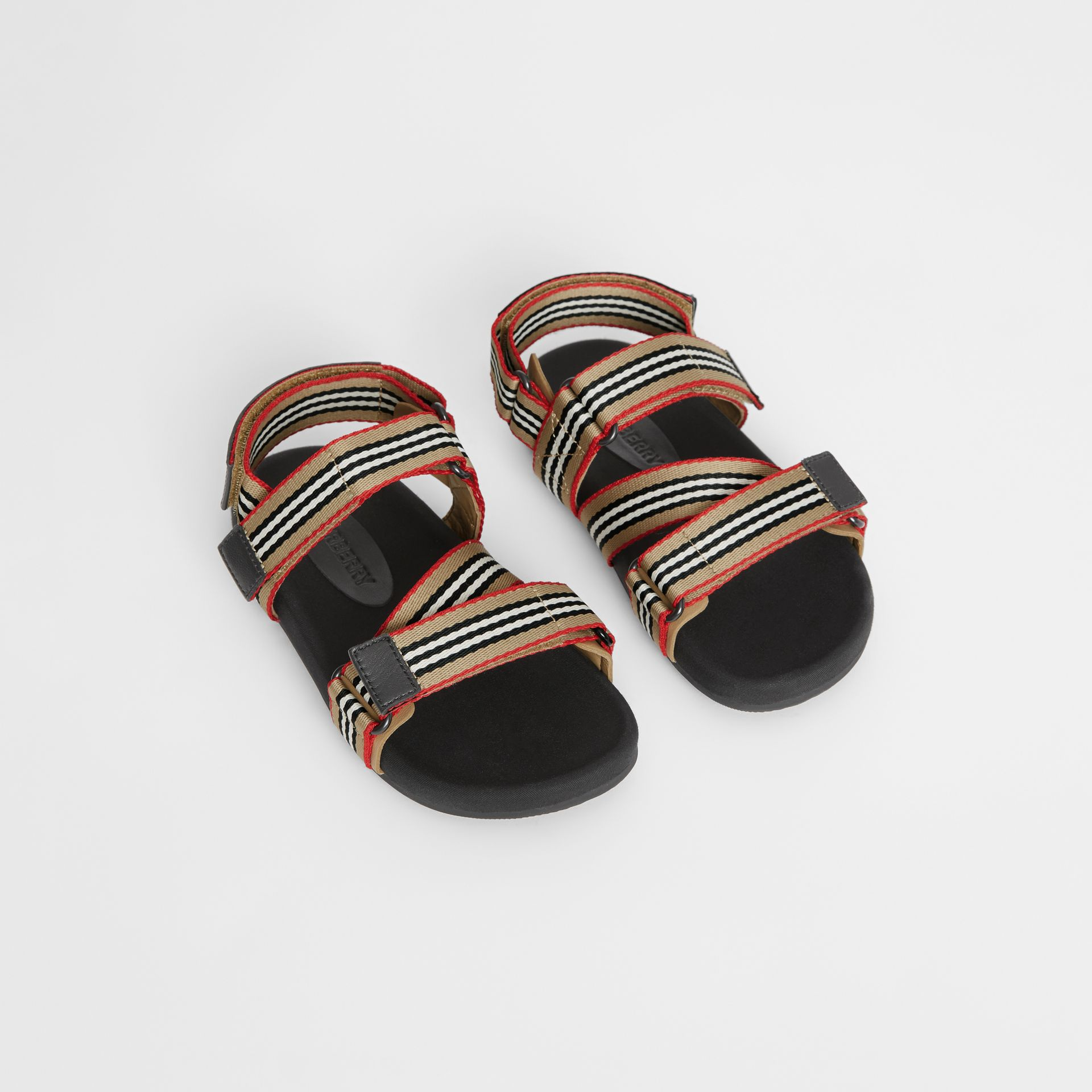 Ripstop Strap Icon Stripe Cotton Sandals in Archive Beige/black - Children | Burberry - gallery image 0