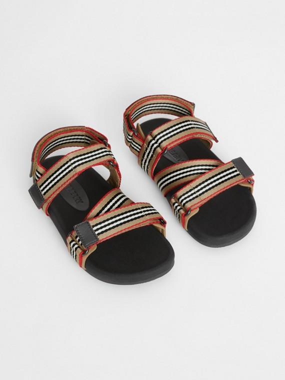 Sandálias de algodão com listra icônica e tira ripstop (Bege Clássico/preto)