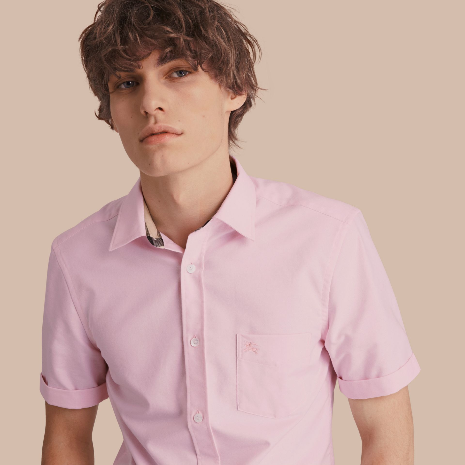 Check Detail Short-Sleeved Cotton Oxford Shirt in Pale Pink - gallery image 1