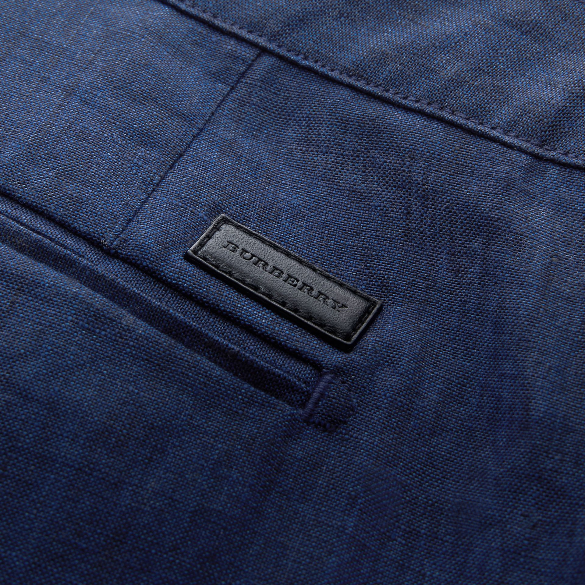 Lightweight Linen Shorts in Steel Blue - Men | Burberry - gallery image 2