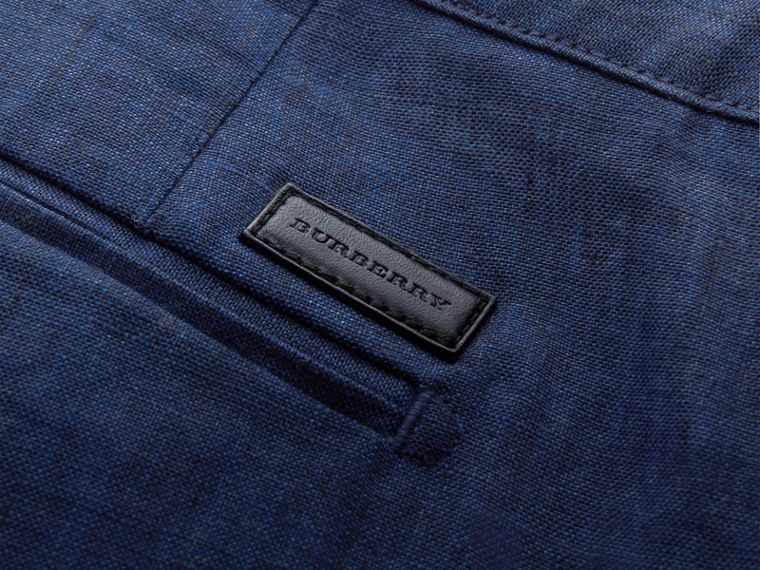 Lightweight Linen Shorts in Steel Blue - Men | Burberry - cell image 1