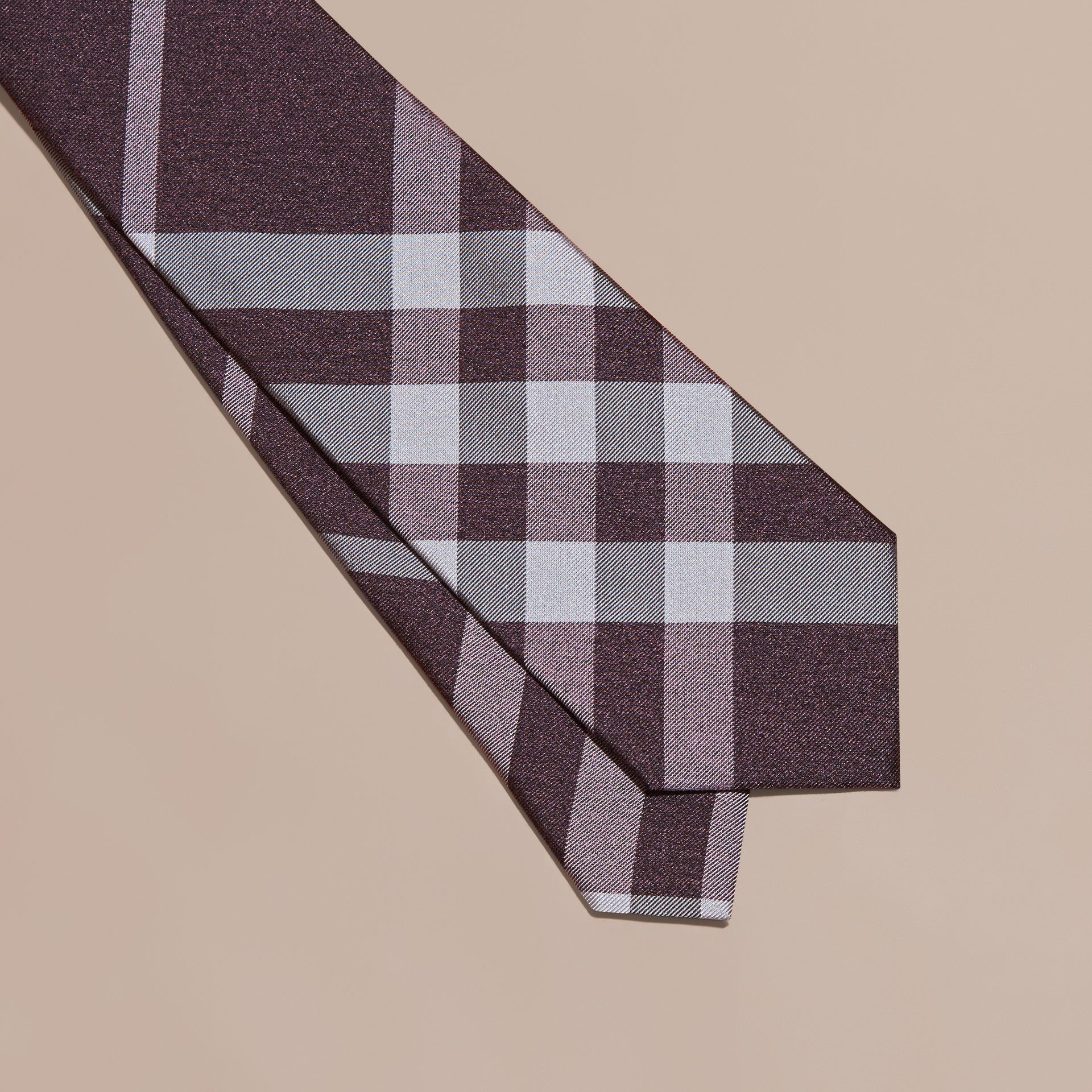 Heather Classic Cut Check Silk Tie Heather - gallery image 2