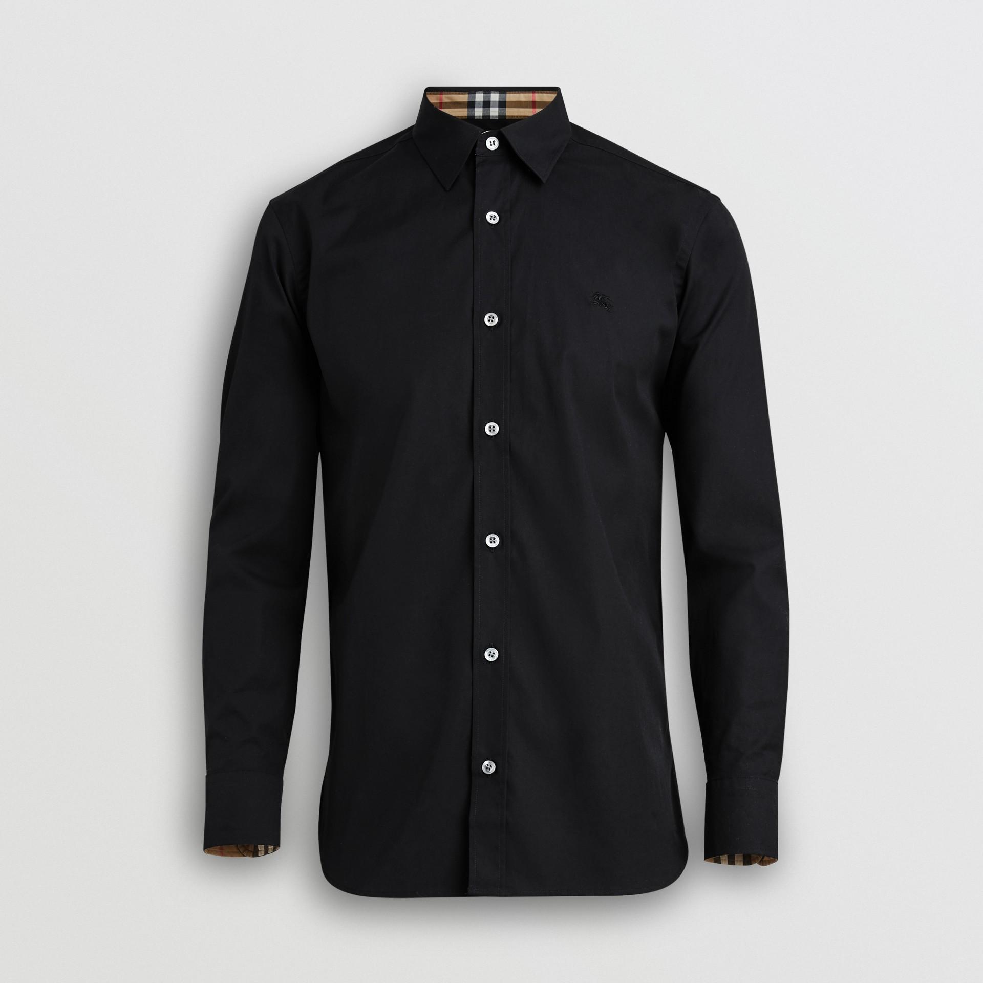 Chemise en popeline de coton extensible avec poignets à motif check (Noir) - Homme | Burberry Canada - photo de la galerie 3