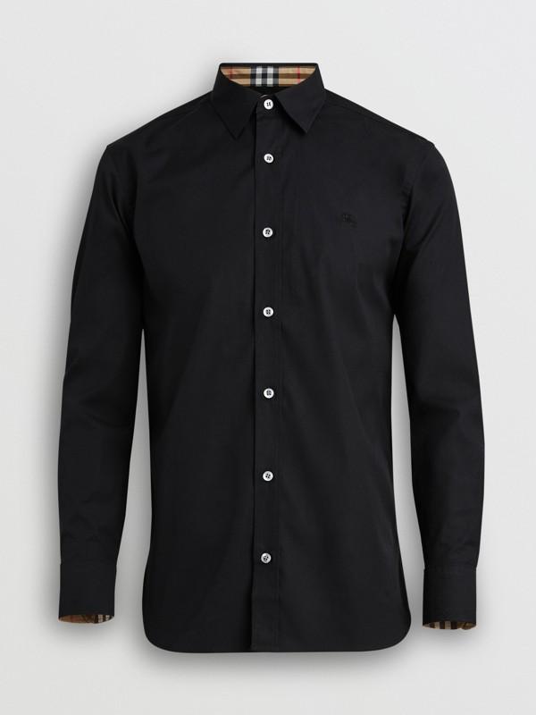 Chemise en popeline de coton extensible avec poignets à motif check (Noir) - Homme | Burberry Canada - cell image 3