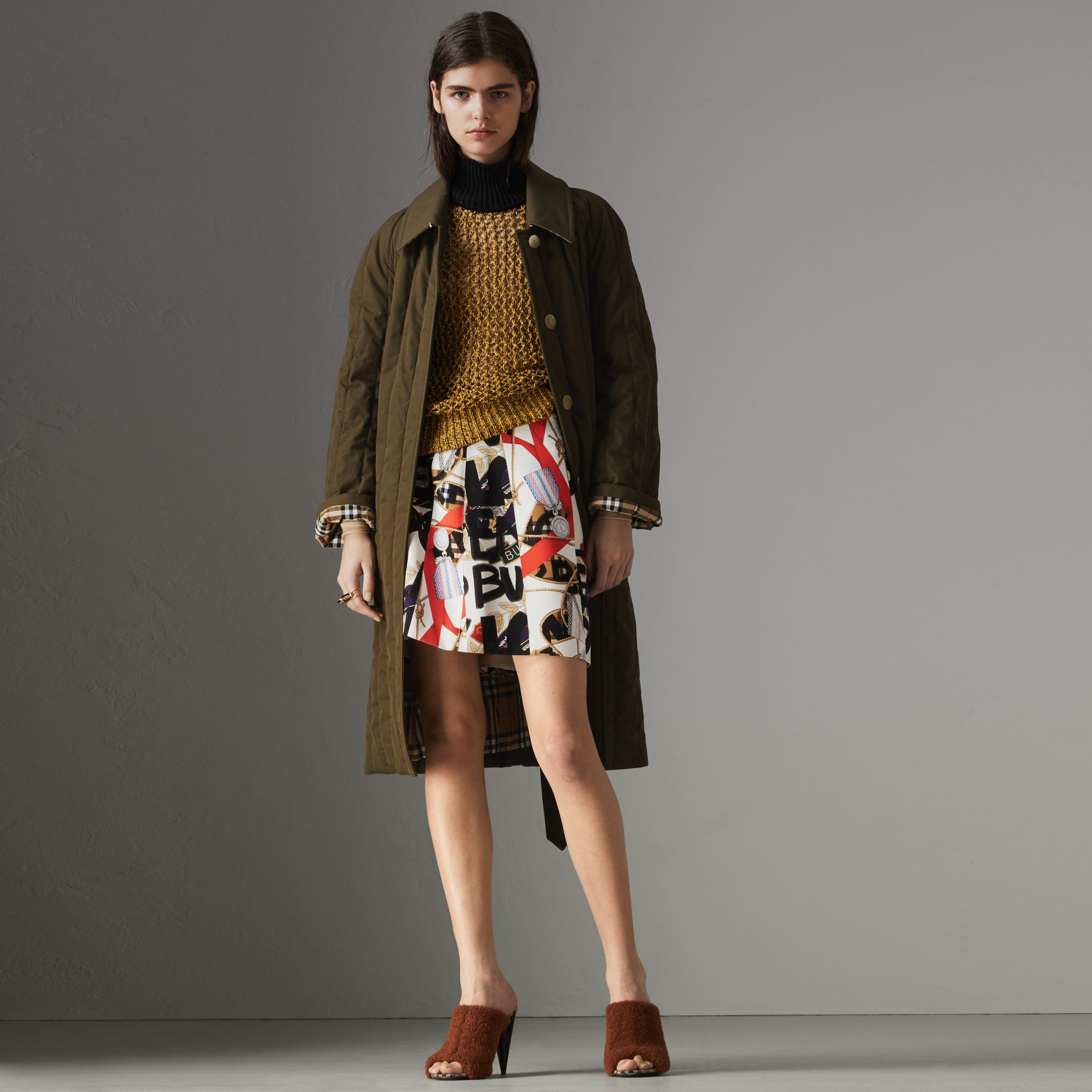 Quilted Tropical Gabardine Car Coat in Dark Military Khaki - Women | Burberry Australia - gallery image 0
