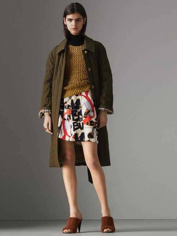 Quilted Tropical Gabardine Car Coat in Dark Military Khaki