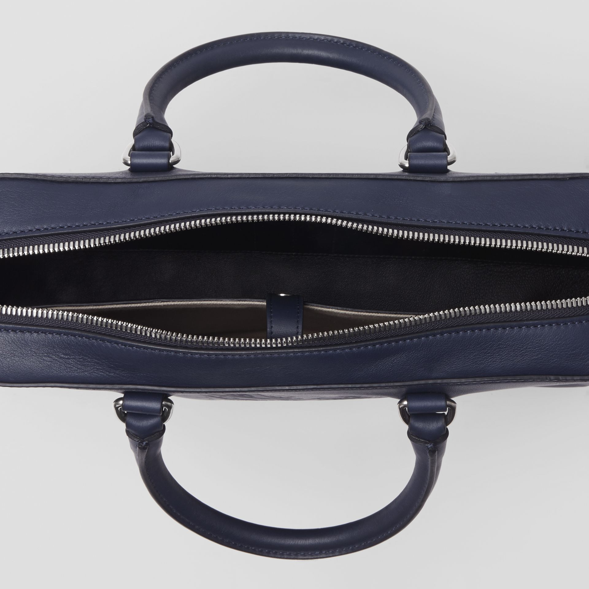 Embossed Crest Leather Briefcase in Regency Blue - Men | Burberry - gallery image 5