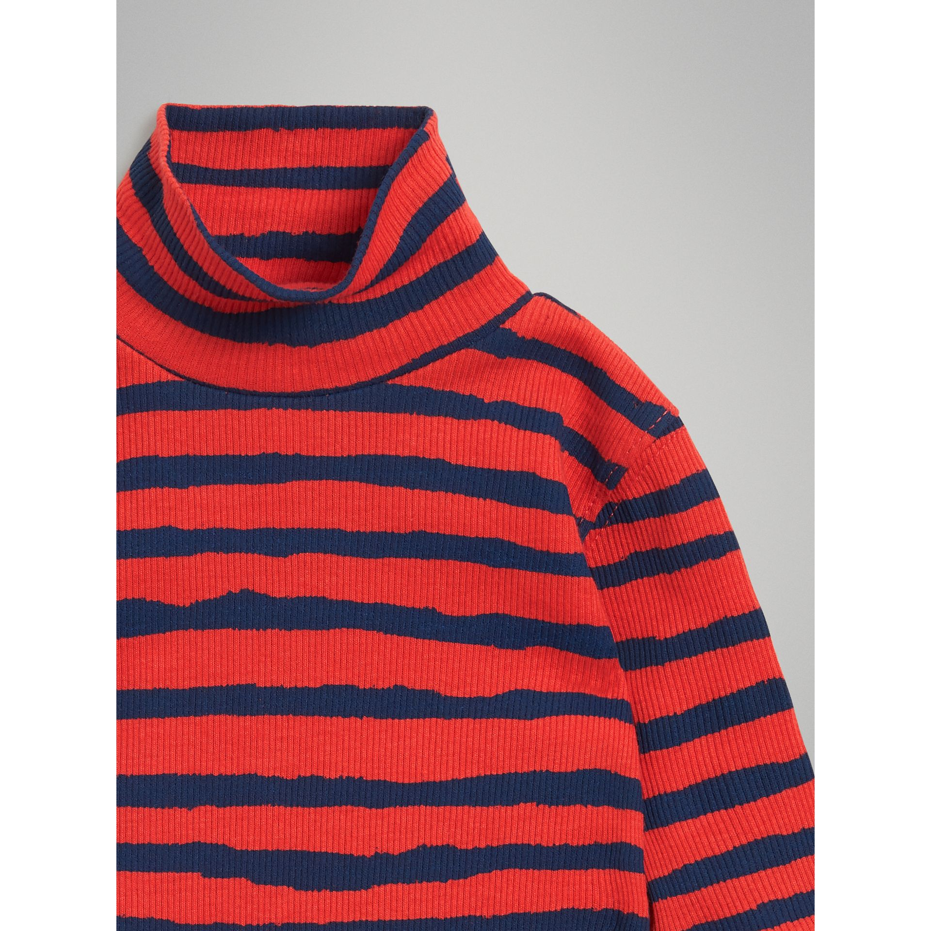 Roll-neck Striped Cotton Bodysuit in Orange Red - Children | Burberry United Kingdom - gallery image 4