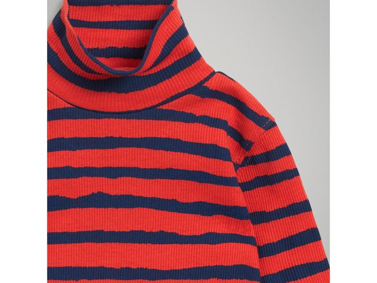 Roll-neck Striped Cotton Bodysuit in Orange Red | Burberry - cell image 4