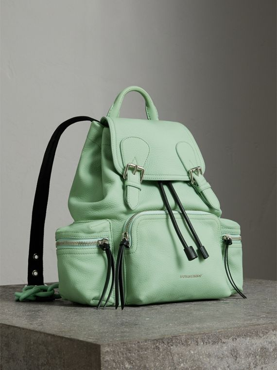 The Medium Rucksack in Deerskin with Resin Chain in Spearmint