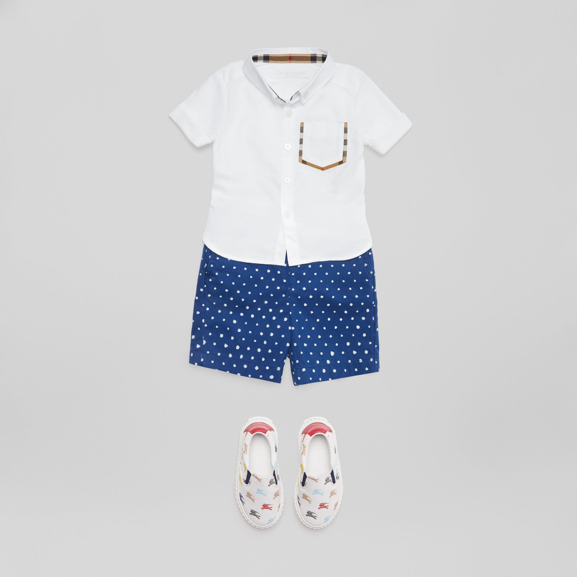 Short-sleeve Check Detail Cotton Oxford Shirt in White - Children | Burberry United Kingdom - gallery image 2