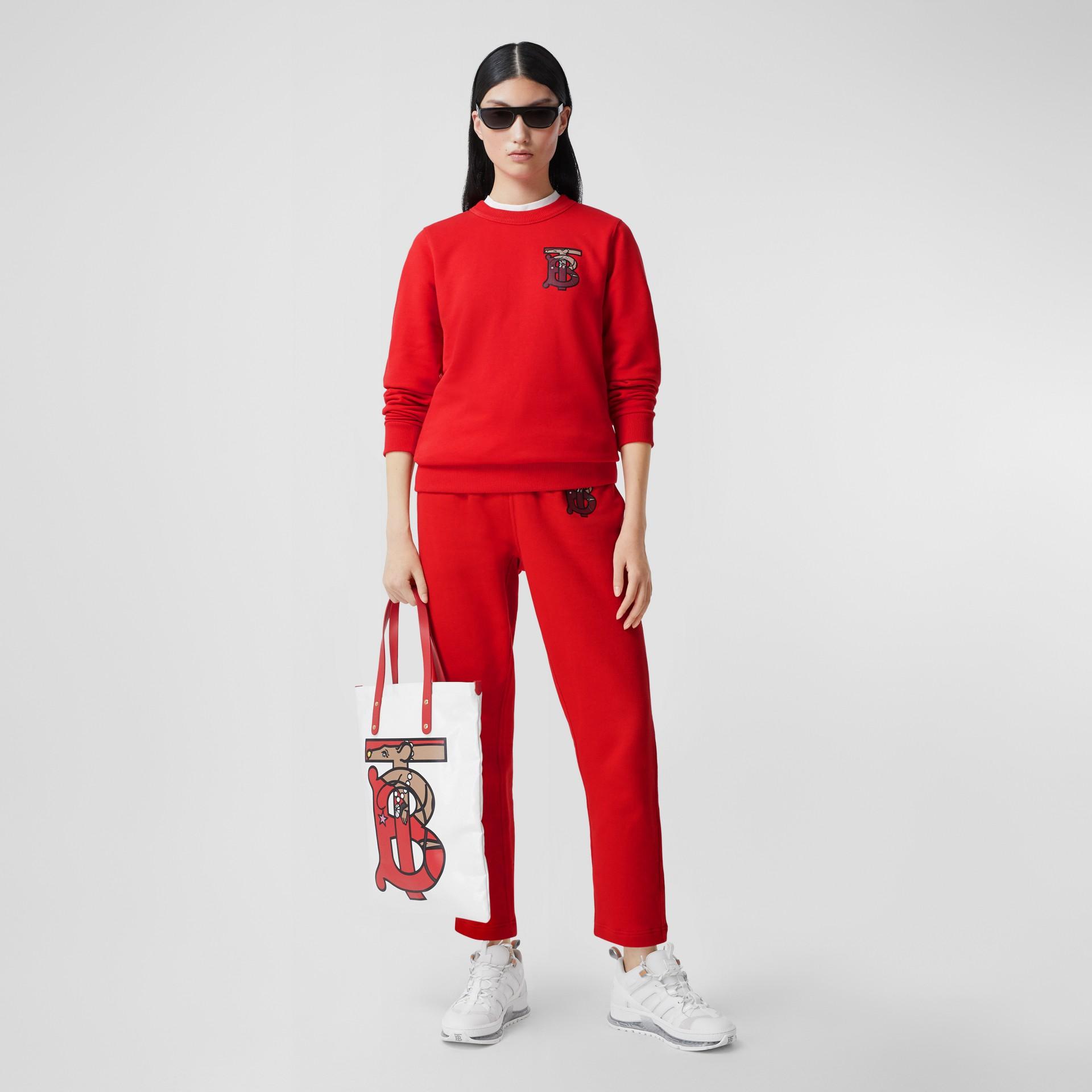 花押字圖案棉質寬版運動衫 (亮紅色) - 女款 | Burberry - 圖庫照片 0