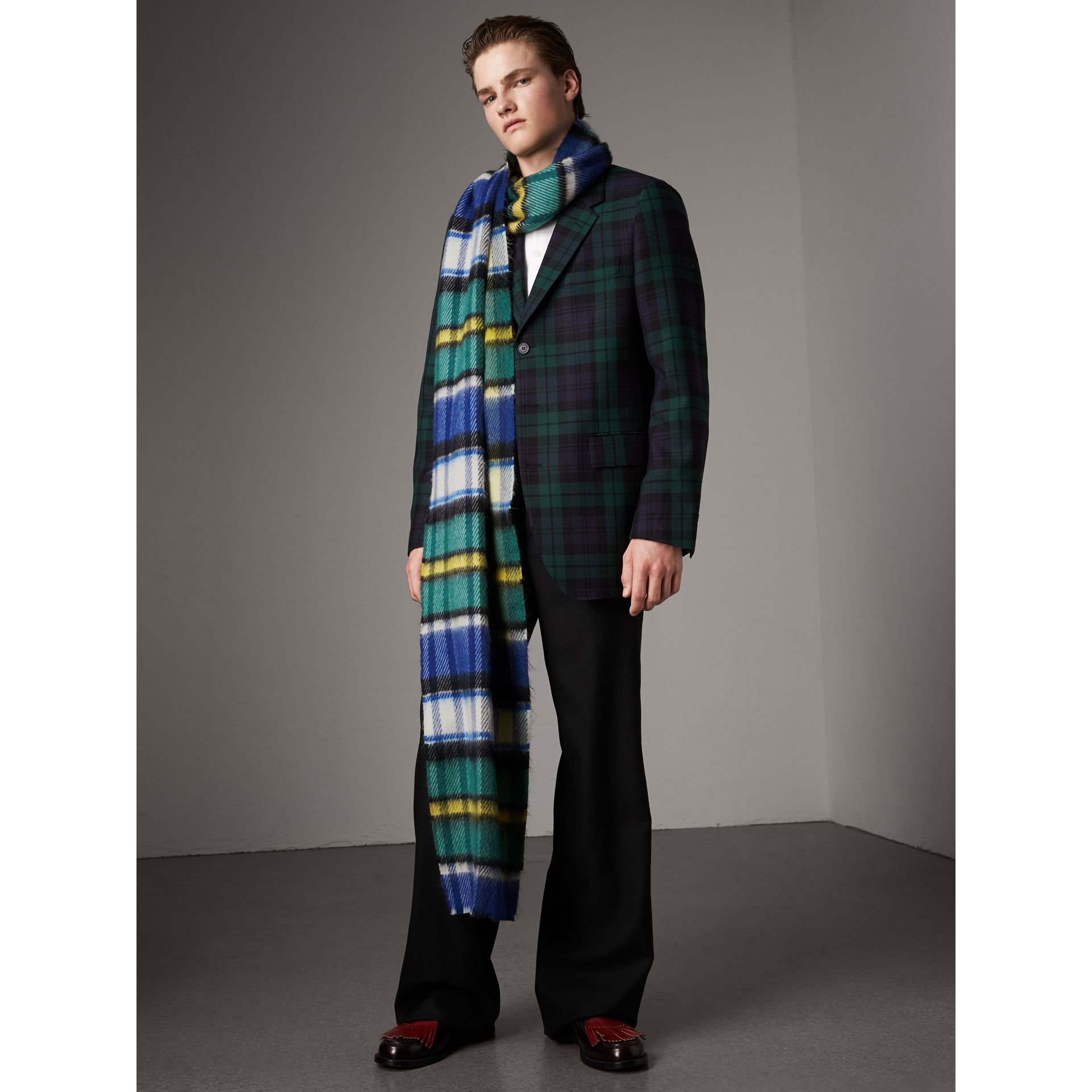 Tartan Wool Tailored Jacket in Bright Navy - Men | Burberry - gallery image 5
