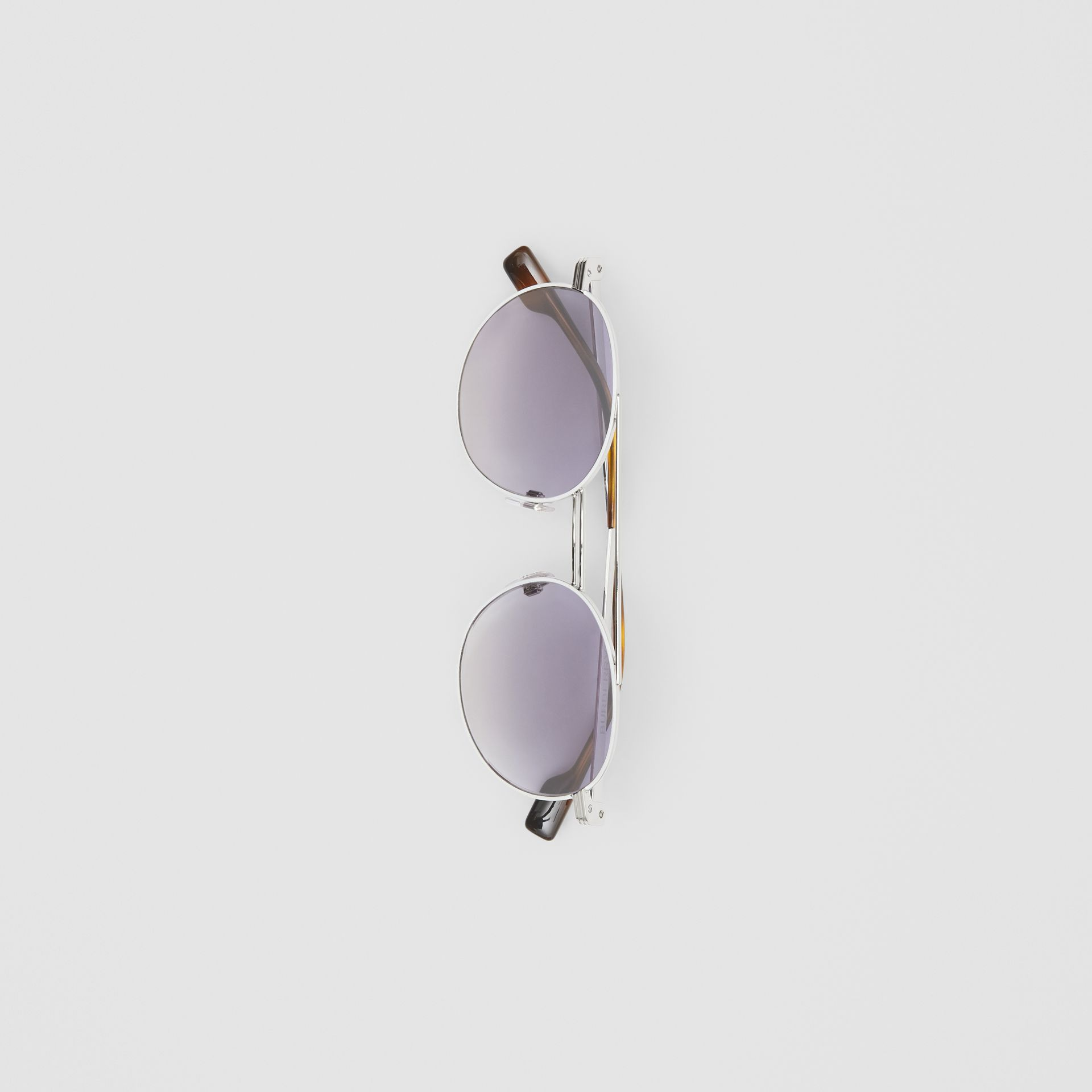 Top Bar Detail Round Frame Sunglasses in Silver - Men | Burberry United Kingdom - gallery image 3